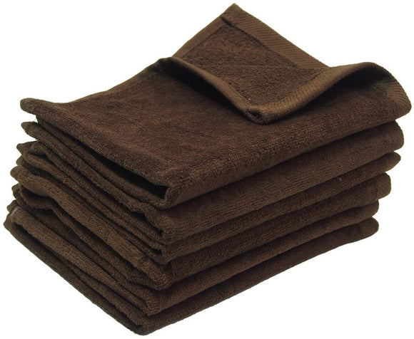 3 Eco-Pack Brown Color Fingertip Sports Towels (Hemmed Ends)
