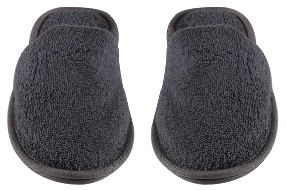 Wholesale Turkish Luxury Terry Cotton Classic Spa Bath Slippers, Closed Toe, Gray Color