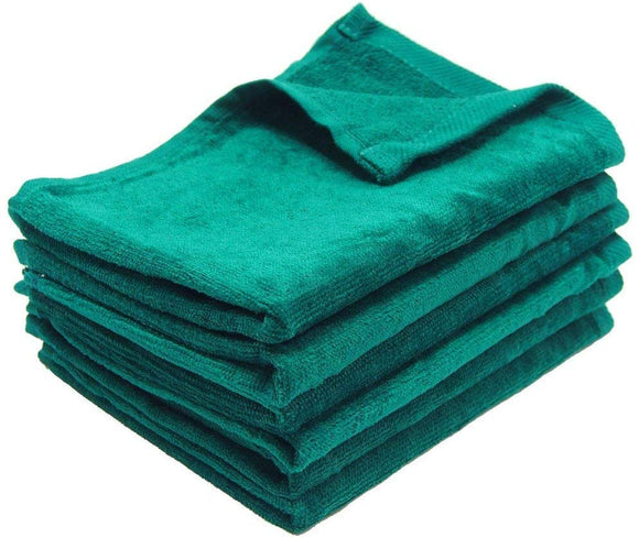 wholesale Green Color Velour Fingertip Towels (Hemmed Ends)