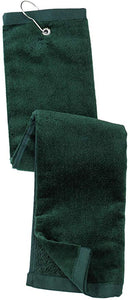 wholesale Tri-fold Golf Towels in bulk with Metal Bag Clip, Green Color