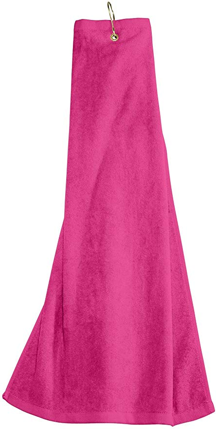 wholesale Tri-fold Golf Towels with Metal Bag Clip, Hot Pink Color in bulk