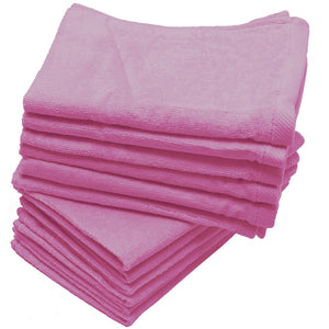 "Light Pink Color Velour 11"" x 18"" Fingertip Towels (Hemmed Ends)"