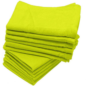 "240 Pack Lime Color Velour 11"" x 18"" Fingertip Towels (Hemmed Ends)"