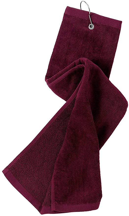 wholesale Tri-fold Golf Towels in bulk with Metal Bag Clip, Maroon Color