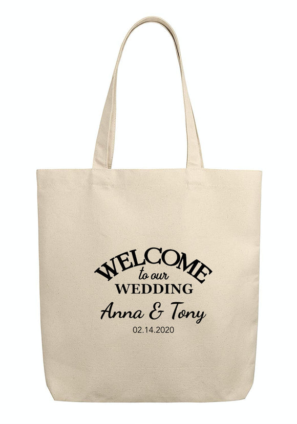 Custom Wedding Welcome Canvas Tote Bags