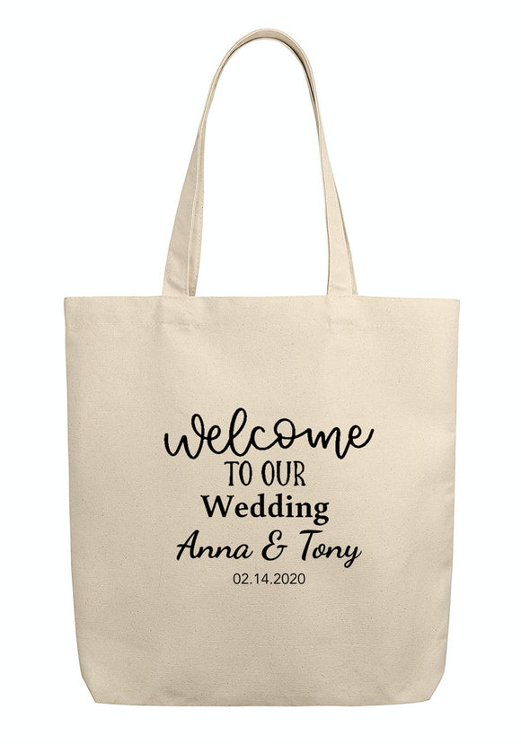 tocotowels Custom Wedding Welcome Canvas Tote Bags