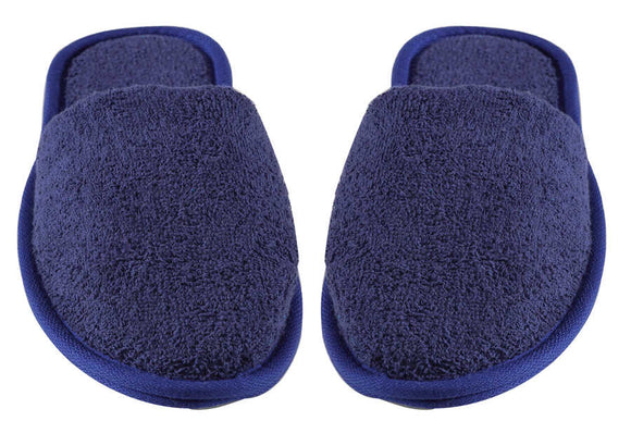 Turkish Luxury Terry Cotton Classic Spa Bath Slippers,Closed Toe, Navy Blue Color Wholesale Bulk
