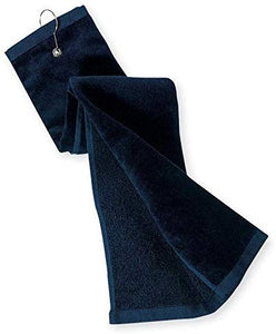 wholesale Tri-fold Golf Towels with Metal Bag Clip, Navy Color in bulk