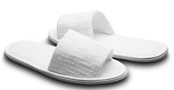 10 Pairs Waffle Open Toe White Slippers, Washable and Non-Disposable