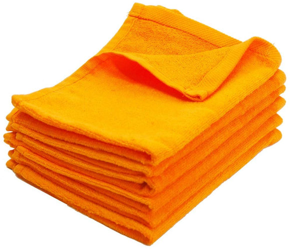 wholesale Orange gold Color Velour Fingertip Towels (Hemmed Ends) bulk