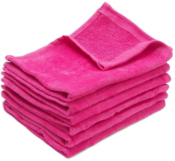 wholesale Pink Color Velour Fingertip Towels (Hemmed Ends)