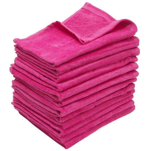 "wholesale bulk 240 Pack Pink Color Velour 11"" x 18"" Fingertip Towels (Hemmed Ends)"