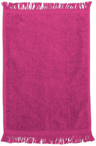 "wholesale 240 Pack Bulk Fingertip Towels, Hot Pink Color Velour, 11"" x 18""  (Fringe Ends)"