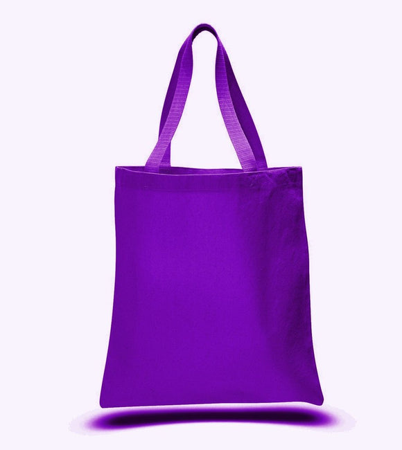 Purple Color Canvas Reusable Shopping Tote Bags, Flat