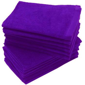 wholesale Purple Color Velour Fingertip Towels (Hemmed Ends) bulk