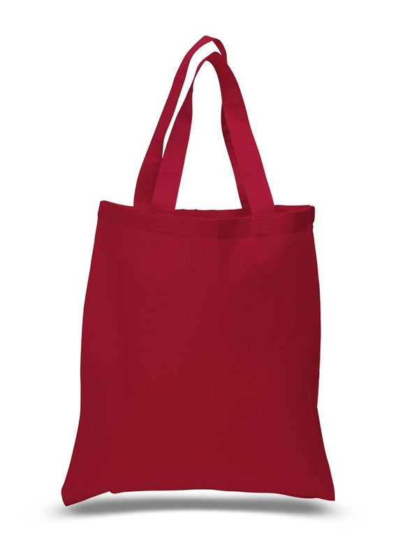 Red Color Canvas Reusable Shopping Tote Bags, Flat wholesale bulk