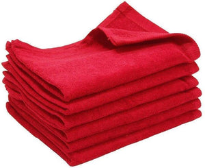 "240 Pack Red Color Velour 11"" x 18"" Fingertip Towels (Hemmed Ends)"