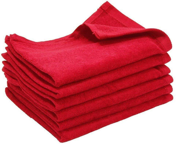 wholesale Red Color Velour Fingertip Towels (Hemmed Ends)