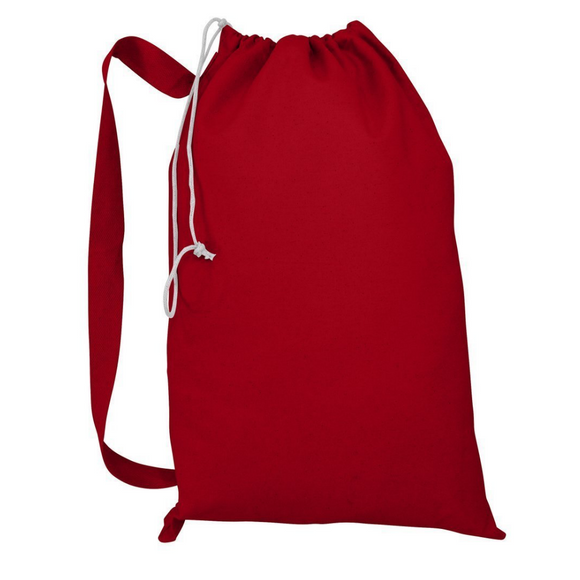 Tocotowels Wholesale Red Color Heavy Duty Canvas Drawstring Laundry Bags in Bulk
