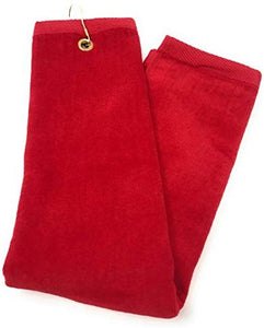 wholesale Tri-fold Golf Towels with Metal Bag Clip, Red Color