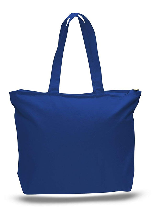 Heavy Duty Canvas Large Reusable Bags, Top Zippered