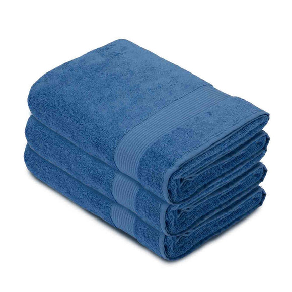 Navy Blue Premium Quality Terry Cotton Fingertip Towels, Set of 3