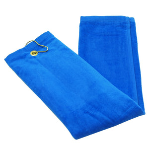 wholesale Tri-fold Golf Towels with Metal Bag Clip, Royal Color in bulk