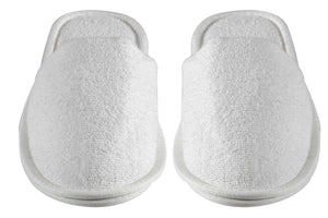 Turkish Luxury Terry Cotton Classic Spa Bath Slippers, Closed Toe, White Color Wholesale Bulk