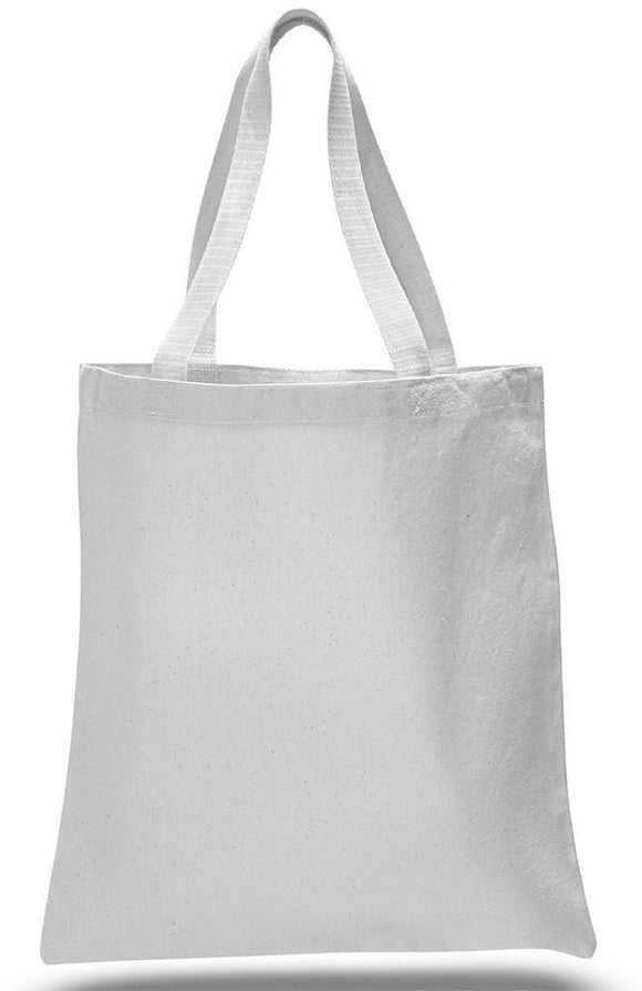 White Color Canvas Reusable Shopping Tote Bags, Flat