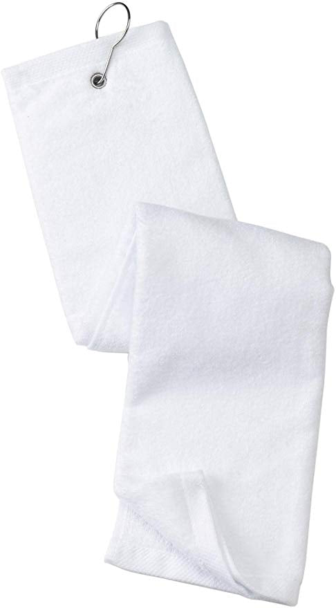 wholesale Tri-fold Golf Towels with Metal Bag Clip, White Color in bulk