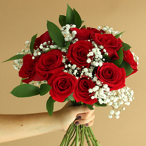Perfect Pair Red Rose Bouquet and Petals