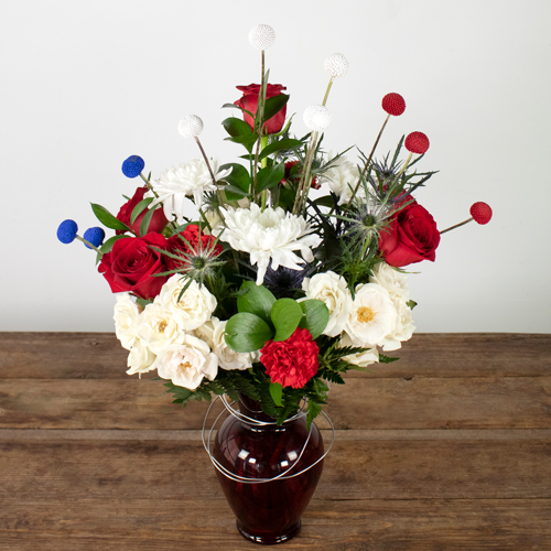 Patriotic Red White and Blue Flowers DIY Box
