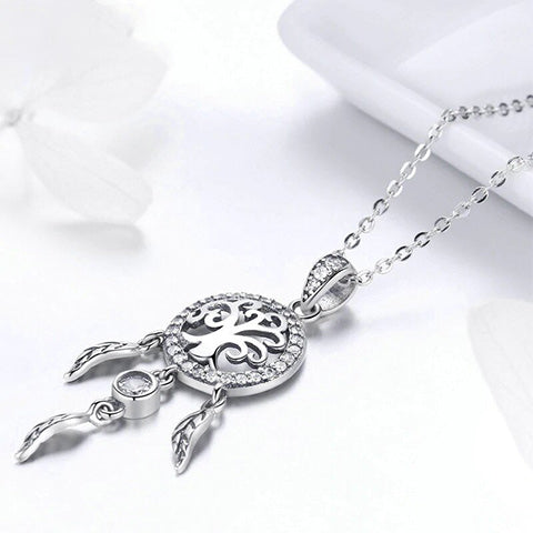 Collier attrape rêves argent