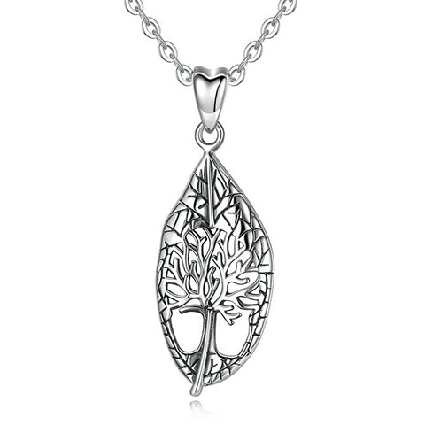Collier feuille argent