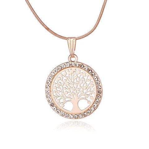 Collier arbre or rose
