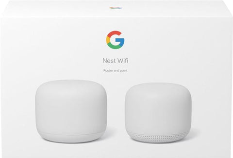 Router - Google Mesh Nest WiFi Router, 1GB RAM, 4GB flash, Bluetooth, WPA3, Blanco + Nest WiFi Point