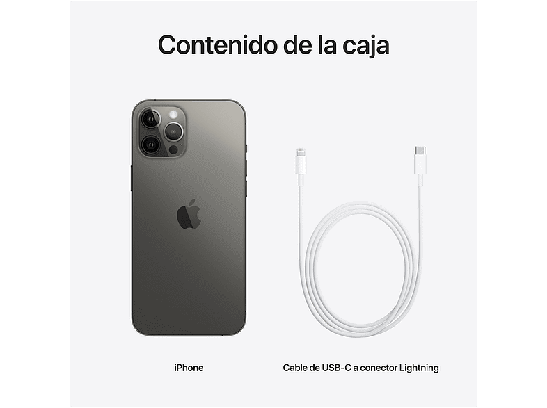 Apple iPhone 12 Pro Max, Grafito, 128 GB, 5G, 6.7 OLED Super Retina XDR, Chip A14 Bionic, iOS