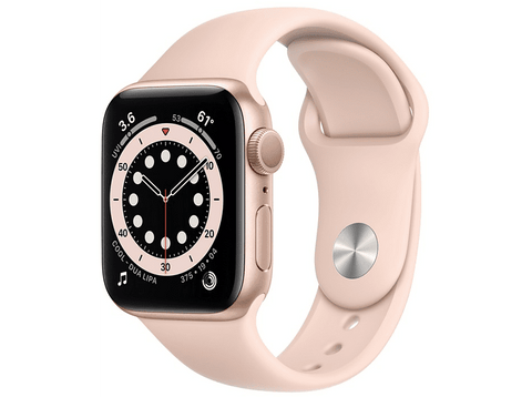 Apple Watch Series 6, GPS, 40 mm, Caja de aluminio en oro, Correa deportiva rosa arena
