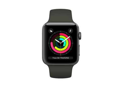 Apple Watch Series 3 GPS, 38 mm, Caja de aluminio gris espacial y correa deportiva negro