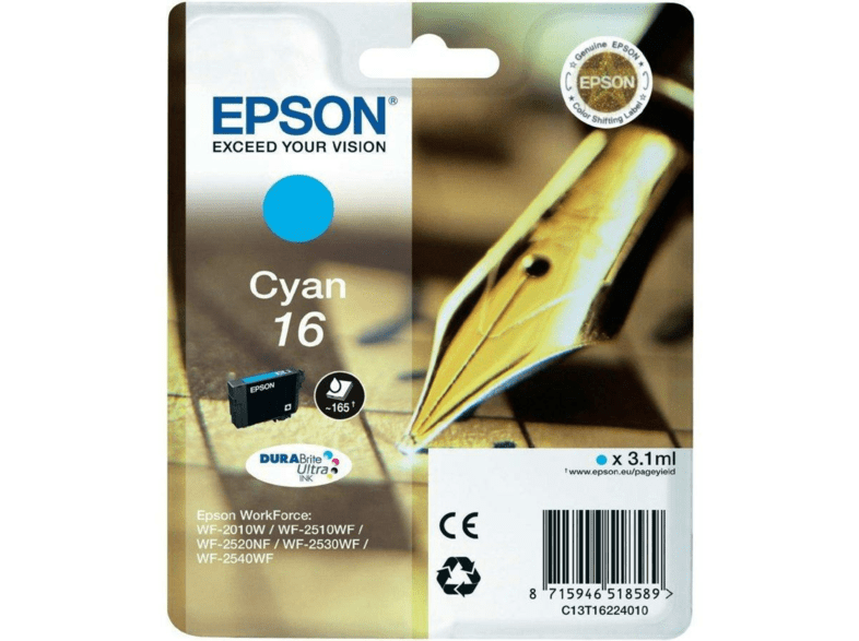 Cartucho de Tinta - Epson 16 - Cián - para WorkForce WF-2010, WF-2510, WF-2520, WF-2530, WF-2540,