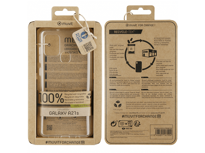 Funda - Muvit Recycletek RECYMCBKC0163, Para Samsung Galaxy A21S, Reciclada, Eco Friendly, Transparente