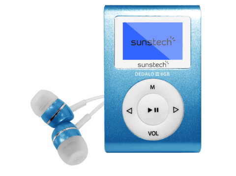 Reproductor MP3 - Sunstech Dedalo III, 8GB, 4h Autonomía, Radio FM, Azul