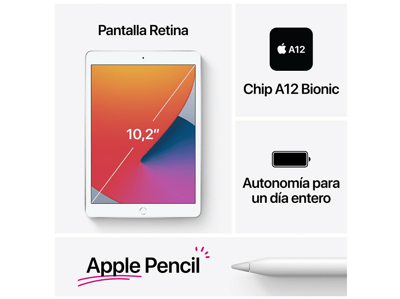 iPad - Apple iPad 8ª generación, 32 GB, Oro, 10.2 '', WiFi+CELL, Retina, Chip A12 Bionic, iPadOS 14
