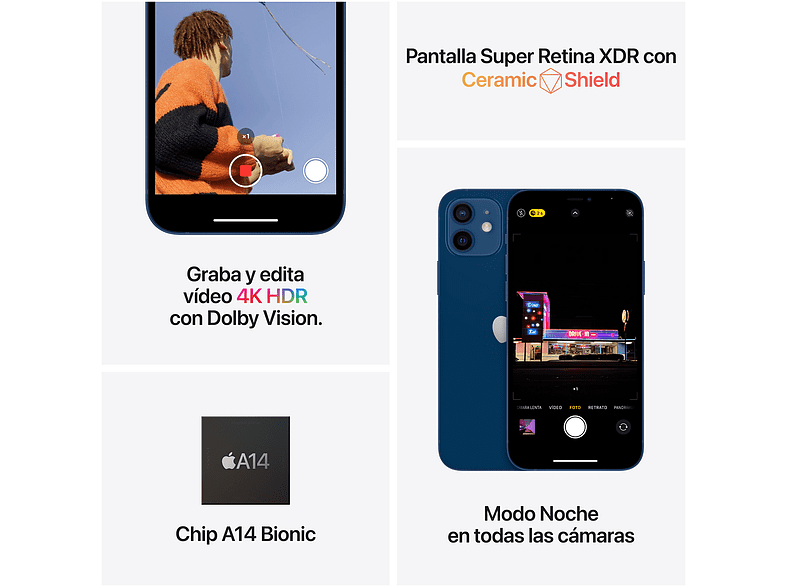 Apple iPhone 12, Azul, 64 GB, 5G, 6.1 OLED Super Retina XDR, Chip A14 Bionic, iOS