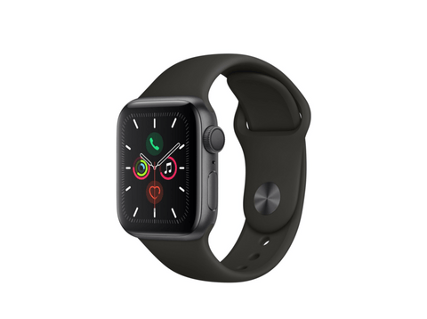Apple Watch Series 5, Chip W3, 40 mm, GPS, Caja aluminio gris espacial, Correa deportiva negra