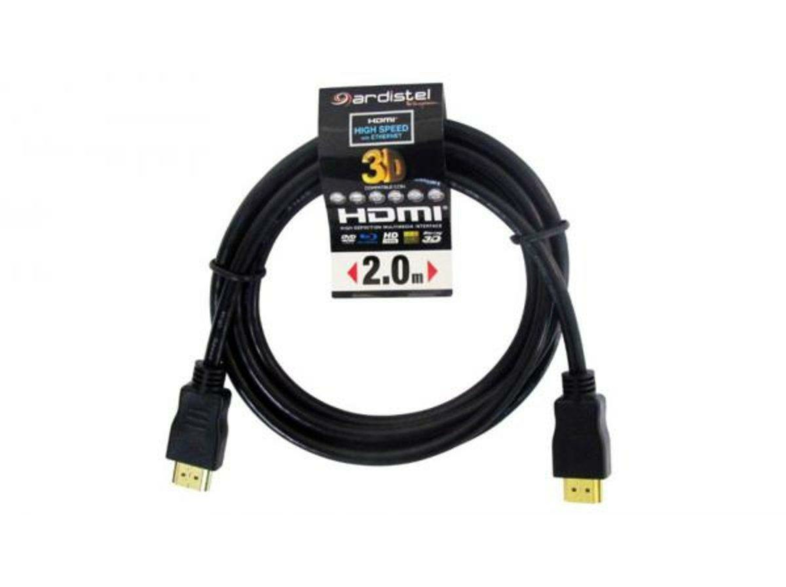 Cable HDMI - Ardistel, HDMI High Speed 3D, 2 metros, Negro