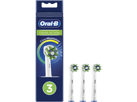 Recambio para cepillo dental - Oral-B, CrossAction, con Tecnología CleanMaximiser, Pack De 3, blanco