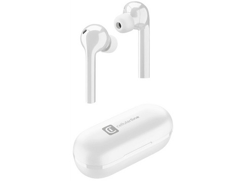 Auriculares inalámbricos - Cellularline Flag BTFLAGTWSW, True Wireless, Bluetooth, Controles táctiles, Blanco