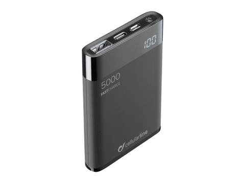 Powerbank - Cellular Line FREEPMANTA5, Para smartphone o tablet, USB, MicroUSB, USB-C, Negro