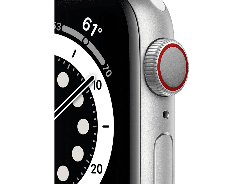 Apple Watch Series 6, GPS+CELL, 40 mm, Caja de aluminio en plata, Correa deportiva blanca